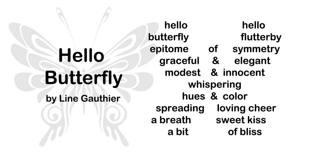 Concrete Poem: Hello Butterfly