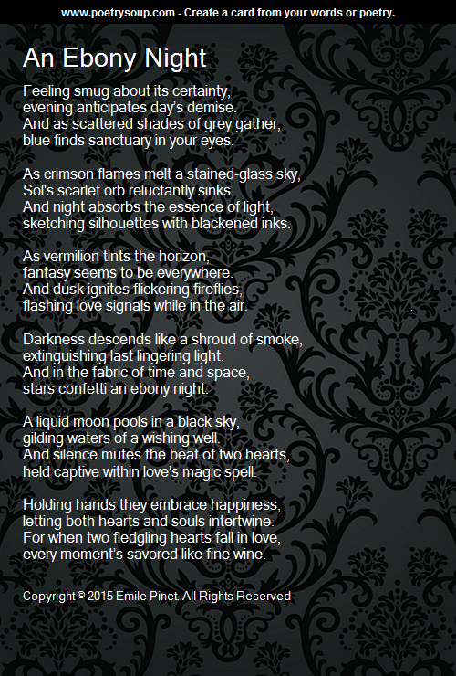 An Ebony Night - Poem by Emile Pinet