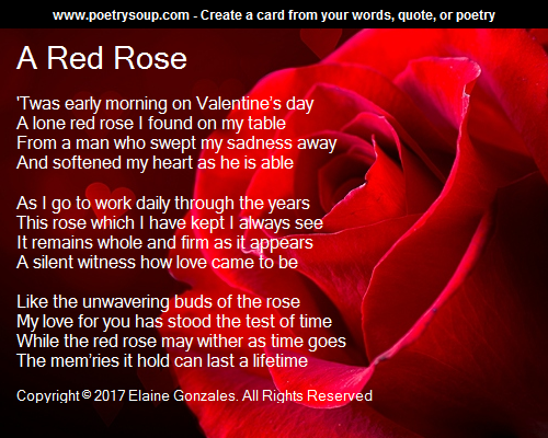 Red Rose Poem By Elaine Gonzales
